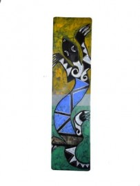 """Gecko"" Painting on Wood by Leland Holiday, Navajo"