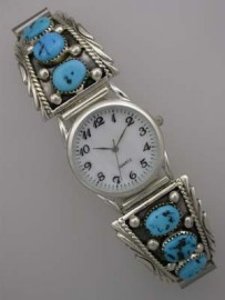 Sterling Watch Tips with Turquoise