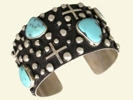 Sterling Silver and Turquoise Bracelet by Silver Ray, Navajo